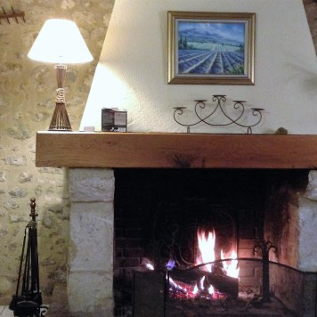 fireplace in the 2 gites