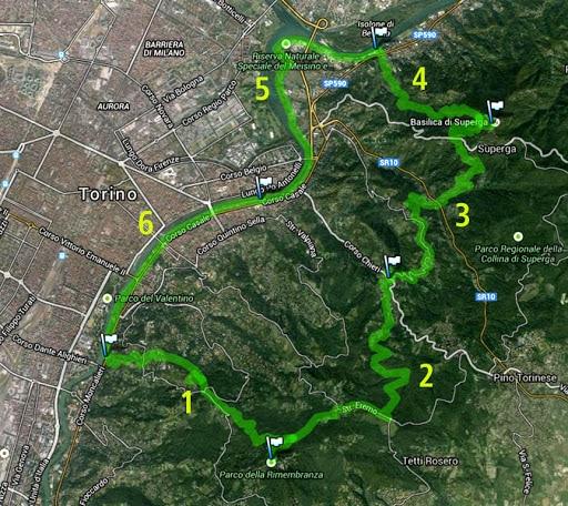 Anello verde del sentiero dei parchi di Torino.
