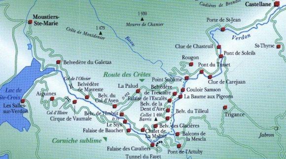 mappa gole del Verdon