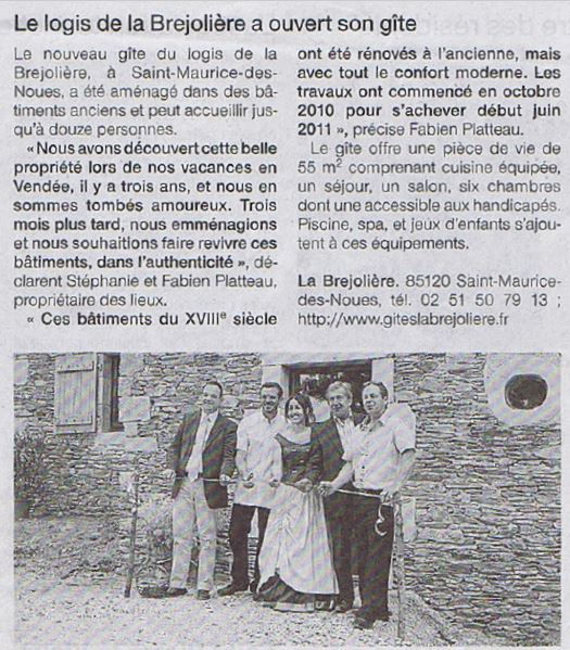 Article inauguration gîte Alexandrin