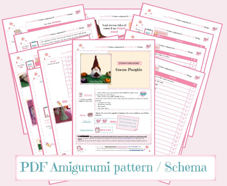 Schema PDF stampabile Amigurumi gnomo Pumpkin