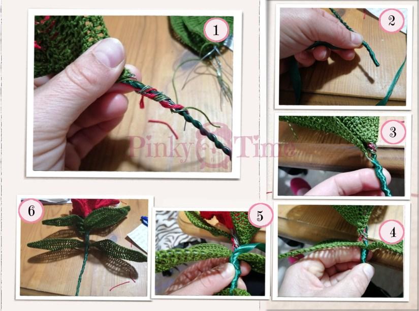 Foto tutorial per avvolgere il nastro verde al gambo della Stella di Natale