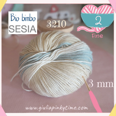 Bio Bimbo Sesia italian yarn used to make the miniature crochet basket