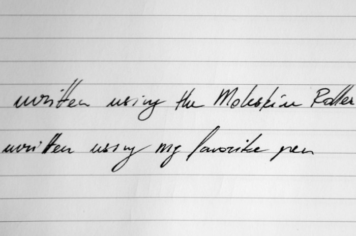 Top line: Moleskine Roller Pen; Bottom line: Common pen