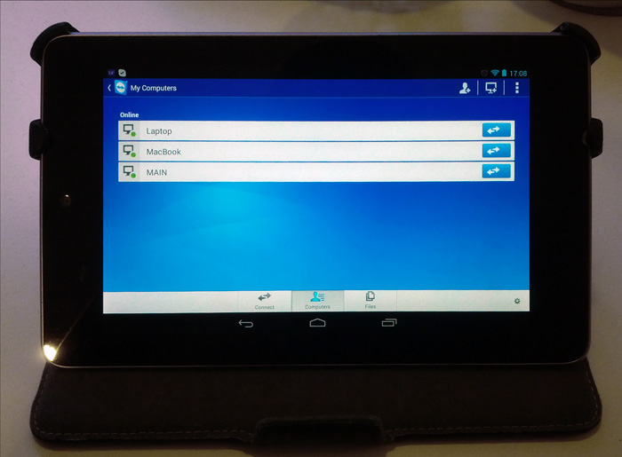 Teamviewer on Nexus 7