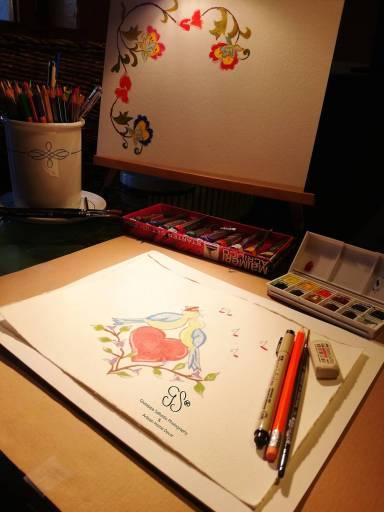 Alla hjärtans dag, Akvarell, Aquarell, Valentinstag