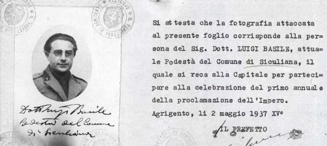 Luigi Basile, documento d'identità