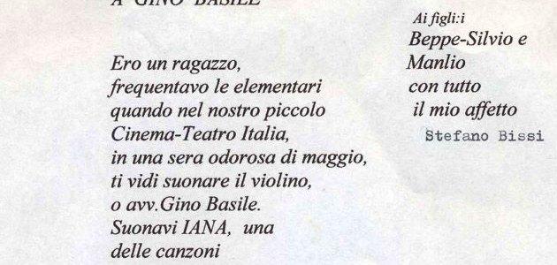Stefano Bissi lirica a Gino (Luigi) Basile