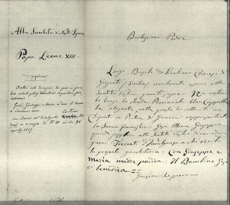 Documento concernente il privilegio della indulgenza concesso dall'autorità ecclesiastica per la cappella votiva di cui alla foto precedente