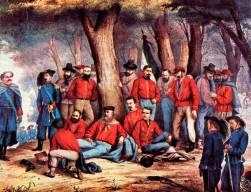 Il dottor Giuseppe Basile (con la barba) assiste il Generale Garibaldi ferito ad Aspromonte