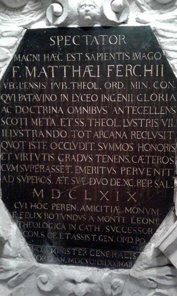 Monumento Matteo Ferchio (1671) Autore del XVII secolo lapide