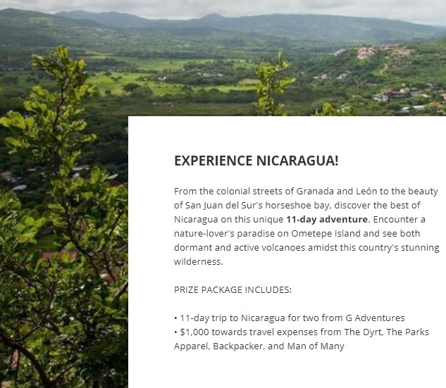 Experience Nicaragua Giveaway