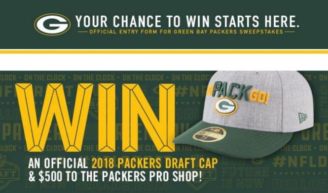 Green Bay Packers Draft Sweepstakes – Chance to Win A $500 Gift Card