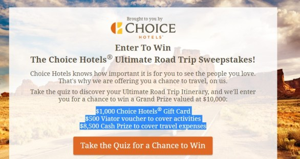 Choice Hotels Ultimate Road Trip Sweepstakes - Win A Ultimate Road Trip