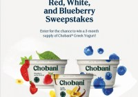Chobani Red, White, And Blueberry Sweepstakes - Win Three Month Supply Of Chobani Greek Yogurt