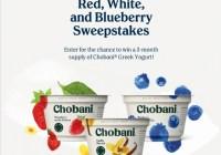 Chobani Red, White, And Blueberry Sweepstakes - Win Three Month Supply Of Chobani Greek Yogurt