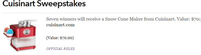 Cuisinart Sweepstakes - Win Red Snow Cone Maker