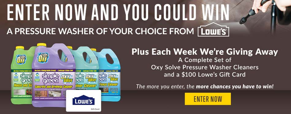 Oxy Solve Pressure Washer Cleaner Sweepstakes Win 1000