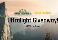 Garage Grown Gear Ultralight Backpacking Giveaway
