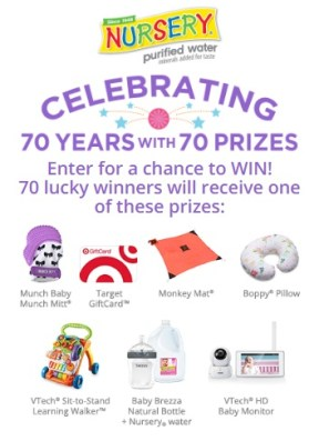 Nursery Water Cheers To 70 Years Sweepstakes