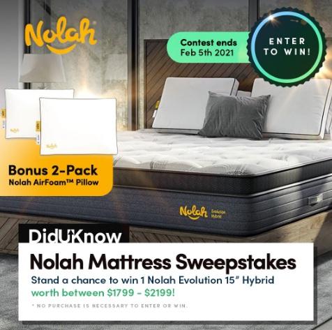 Diduknow.io Nolah Mattress Giveaway