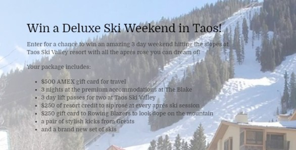 Wine Awesomeness Deluxe Taos Ski Weekend Getaway Sweepstakes