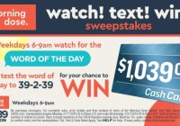 CW 39 Morning Dose Watch Text Win Sweepstakes