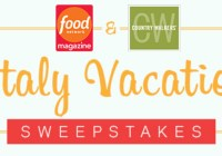 Food Network Magazine Italy Vacation Sweepstakes