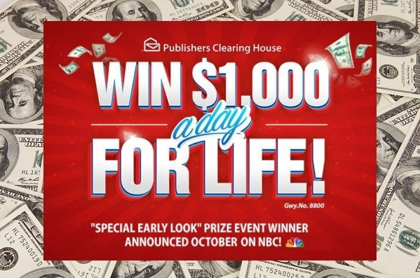 PCH.com Win 1,000 Dollars A Day For Life Sweepstakes
