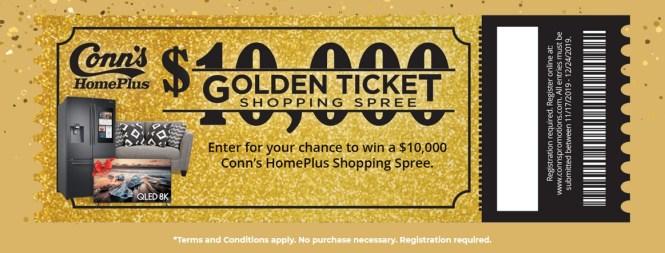 Conn HomePlus $10,000 Golden Ticket Sweepstakes