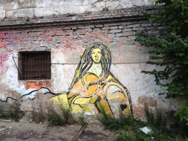 Street art in a defunct prison in Tallinn, Estonia.