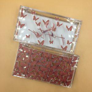 custom red butterflies lash box