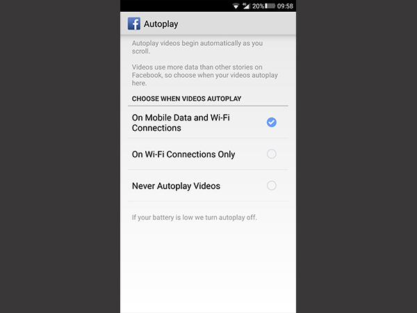 how to turn off autoplay on facebook app, Twitter and Instagram