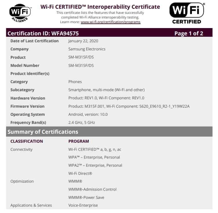 Samsung Galaxy M31 Certified by Wi-Fi Alliance