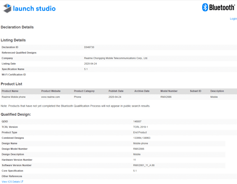 realme x3 superzoom spotted at Bluetooth Certification Site