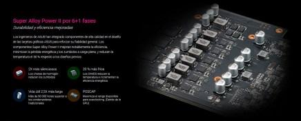 Según la web de Asus, contamos con un VRM de 7 fases (6+1) para la CPU y dos fases para la memoria, con componentes de muy alta calidad Super Alloy II