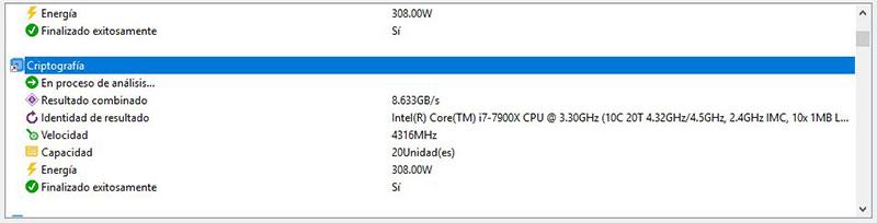 Intel Core i9-7900X Analisis Sandra Platinum 2