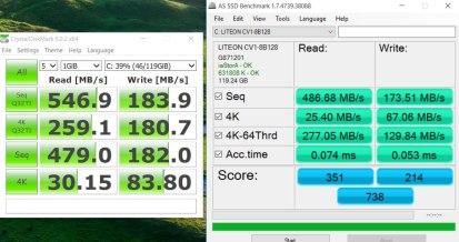 Rendimiento del SSD de 128GB.