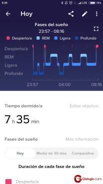 fase de sueño fitbit ionic