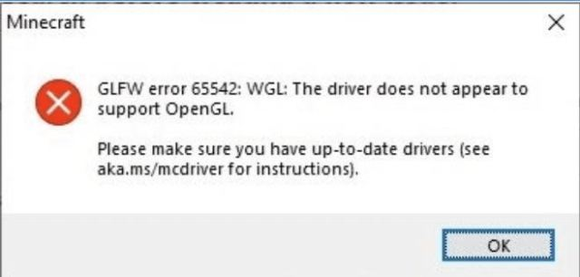 GLFW error 65542: driver does not appear to support OpenGL