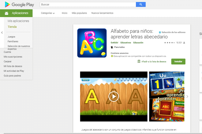 Con la app alfabeto para niños, desde bebés hasta niños de 5 años podrán aprender el alfabeto en inglés y español