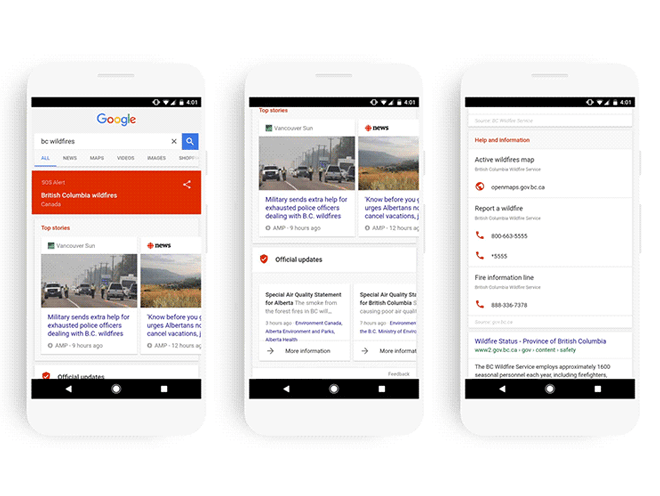 Cómo funciona SOS Alerts en el buscador de Google y en Google Maps