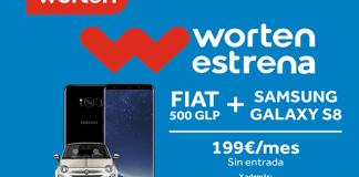 Worten Estrena vuelve con un Fiat 500 Lounge Híbrido GLP y un Samsung Galaxy S8 por 199 euros al mes