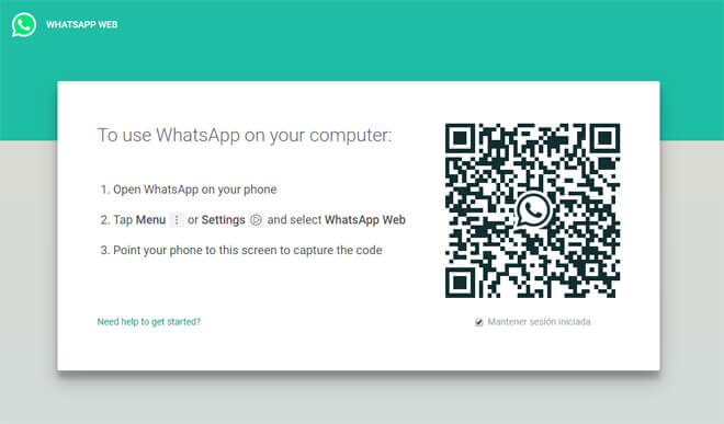 WhatsApp en el ordenador Paso 1