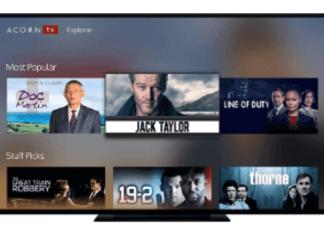 imagen de la pantalla de una tv con fotos de series y películas