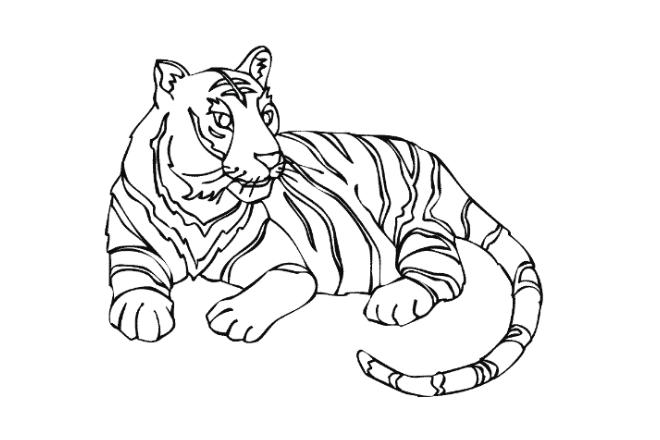imagen de un dibujo de un tigre en blanco y negro