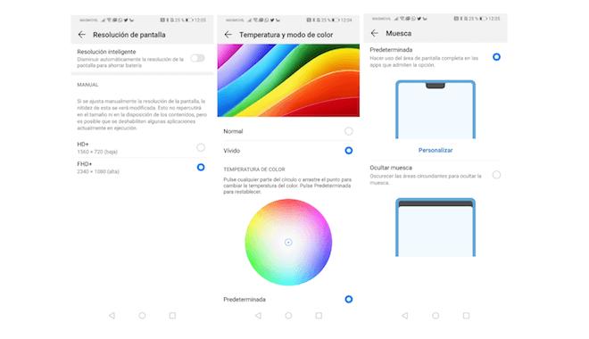 Opciones de ajuste de pantalla el Huawei P30 Pro