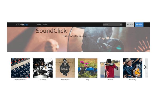 Home de SoundClick, una buena opción para descargar música de Internet