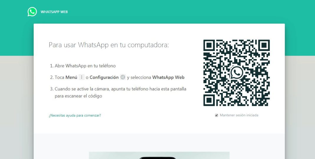 Pantallazo de inicio de Whatsapp Web