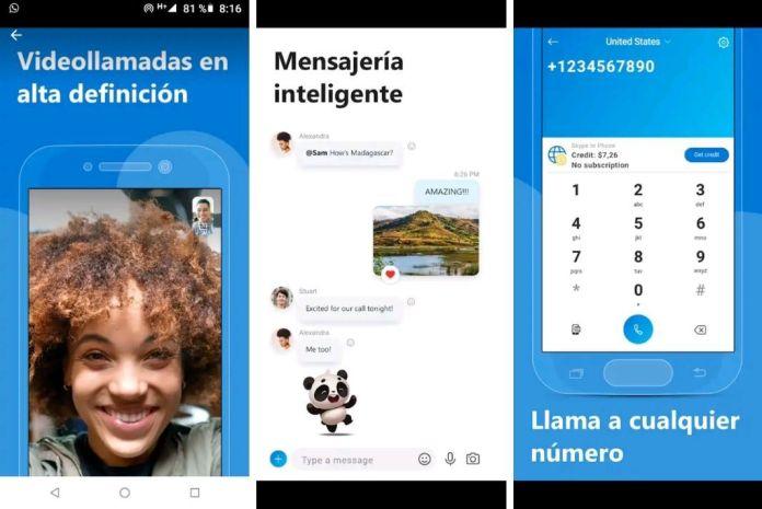 Pantallazo de la aplicación móvil de Skype